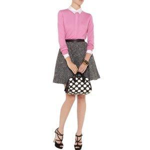 Alice + Olivia Audra Leather Trimmed Tweed Skirt